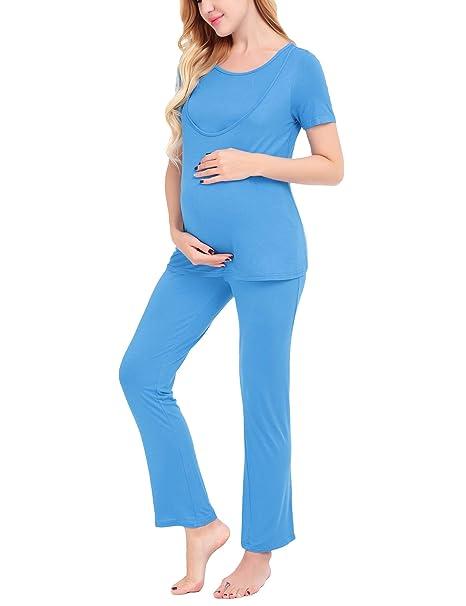 Dromild Maternity Nursing Hospital Pijamas Set Top y Pantalones Ropa de Dormir Pjs Sets Blue S