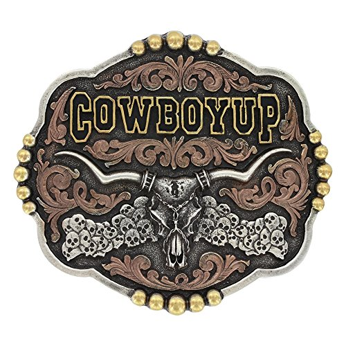 Tri-Color Cowboy Up Longhorn Skull Attitude Buckle - A523T ()