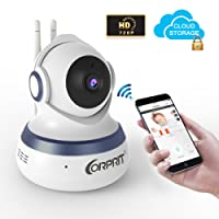 Corprit Wireless Security Camera Baby Monitor Smart Home Camera with Cloud Storage Night Vision Pan/Tilt, Two-Way Audio APP Remote View for Android iOS