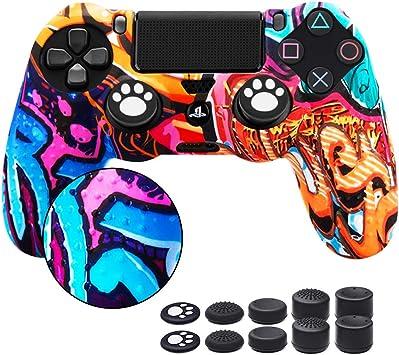 6amLifestyle Funda Protectora Antideslizante de Silicona para Mando PS4, Carcasa para Sony PS4 / PS4 Pro / PS4 Slim Controller (1 Pintada Funda de Mando PS4 + 10 Thumb Grips PS4): Amazon.es: Electrónica