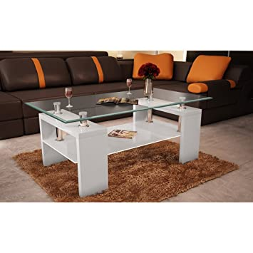 VidaXL Couchtisch Glastisch Beistelltisch Tisch Weiss Wohnzimmertisch Platte
