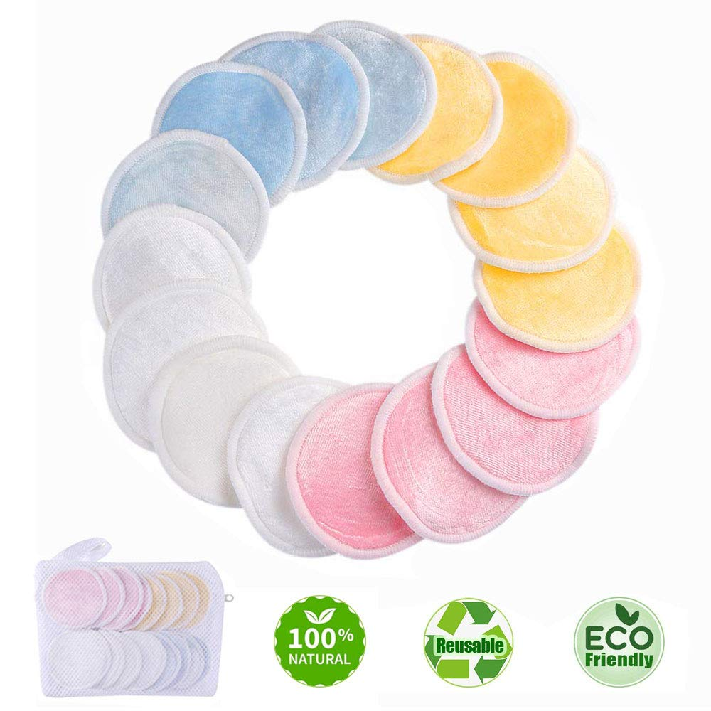 Reusable Makeup Remover Pads - Natural Bamboo Cotton Rounds for Eye Makeup Remove Face Wipe - Round Cleansing Cloths with Laundry Bag 16 Packs by ASANMU