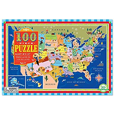 eeBoo United States Map Puzzle for Kids, 100 Pieces: Toys & Games