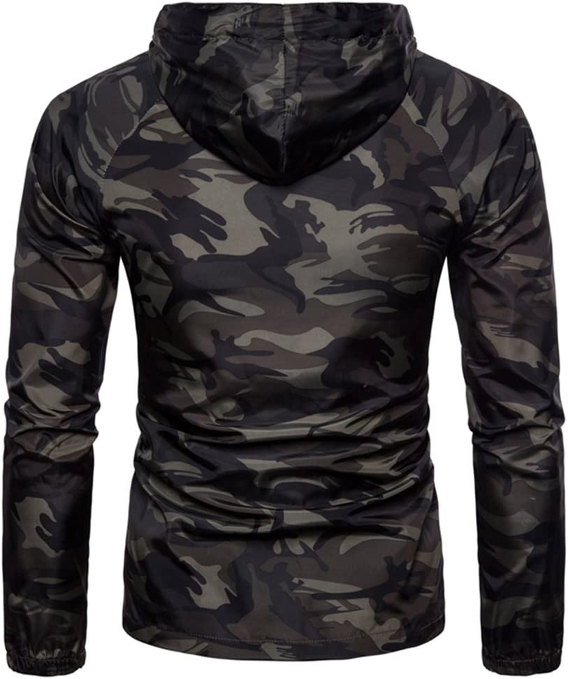 Yeshi Herren Hoodies Camouflage Muster Long Sleeve Zip