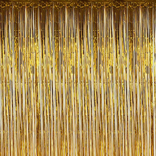 Twinkle Star Photo Booth Backdrop Metallic Tinsel Foil Fringe Curtains Environmental Background for Birthday Wedding Party Christmas Decorations (2 Pack, Gold)