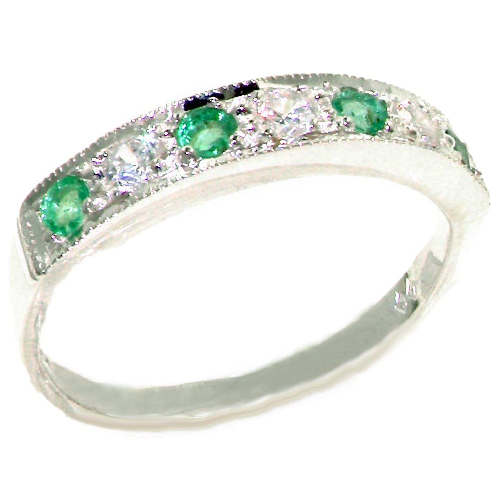 925 Sterling Silver Natural Diamond and Emerald Womens Band Ring (0.18 cttw, H-I Color, I2-I3 Clarity)