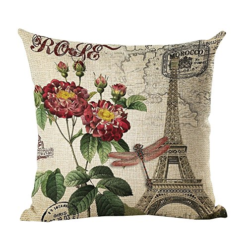 Monkeysell Retro Flowers and Butterfly Patterns Cotton Linen Decorative Throw Pillow Case Cushion Cover Body Pillowcovers 18 x 18 Inches (S061A15) (Beachy Couch)