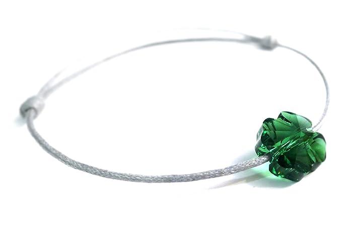 9675670b2a41e Les Bijoux Acidulés - Bracelet Lien Coulissant Femme Cristal Swarovski  trèfle Porte Bonheur Lucky Me - Bijoux créateur Fait Main Fabrication  française  ...