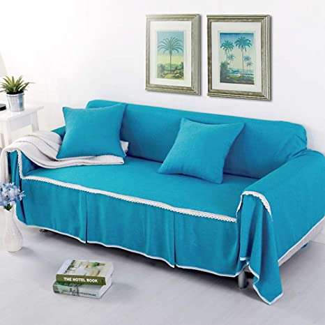Amazon.com: Solid Color Fabric Sofa Cover, 1-Piece Dust ...