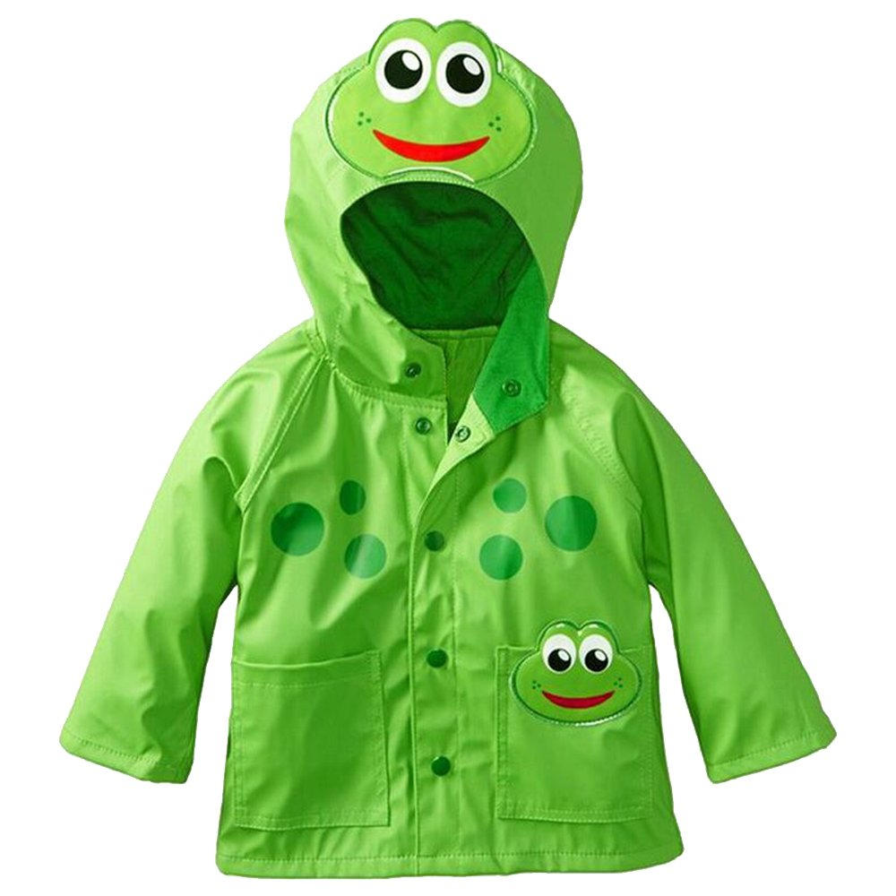 Eastlion Children Cartoon Raincoat Frog Beetle Style Windproof and Rainproof Hooded Jacket