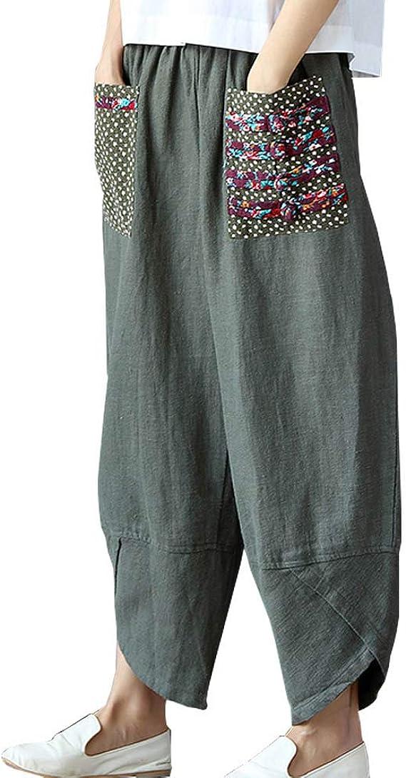 Linen cropped pants women  Women clothes linen beach pants  Linen hippie trousers womens pants