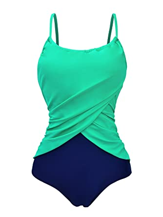 Zando Color Splicing One Piece Swimsuit Plus Size Bathing Suits Frilly  Vintage Tummy Control Swimwear for Women Girls