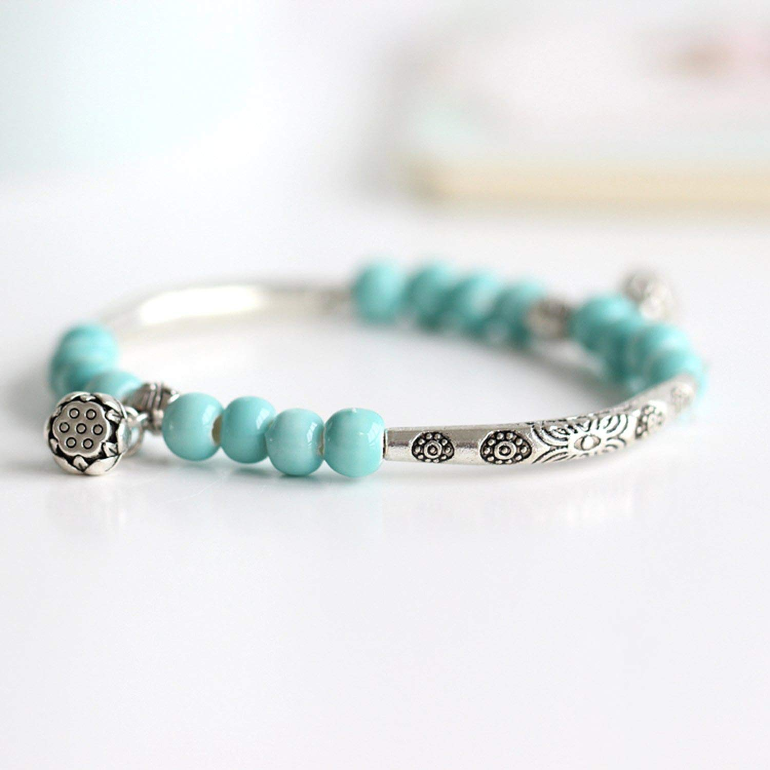 Womens Ceramic Hand Made DIY Bracelets Retro Bracelet for Women Girl Gift Jewelry,19,18Cm