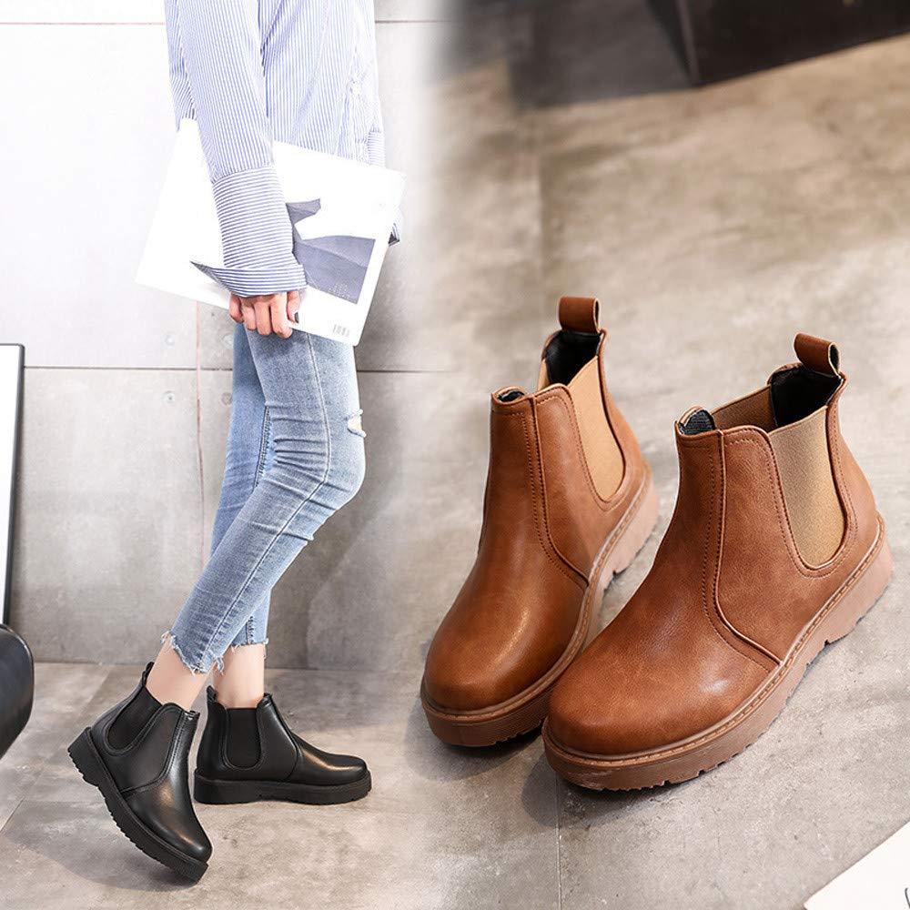 ❤ Botas Cortas de Cuero para Mujer, Zapatos Planos de Color Liso Botas Martain Botines de Cuero Zapatos con Punta Redonda Absolute: Amazon.es: Ropa y ...