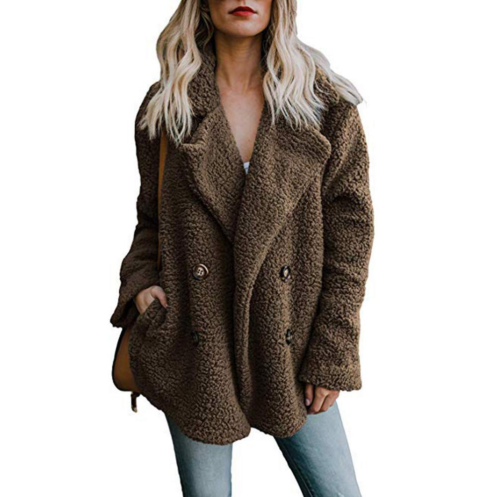 Liraly Womens Double Breasted Lapel Open Front Fleece Coat with Pockets Outwear(Coffee,US-10 /CN-XL)