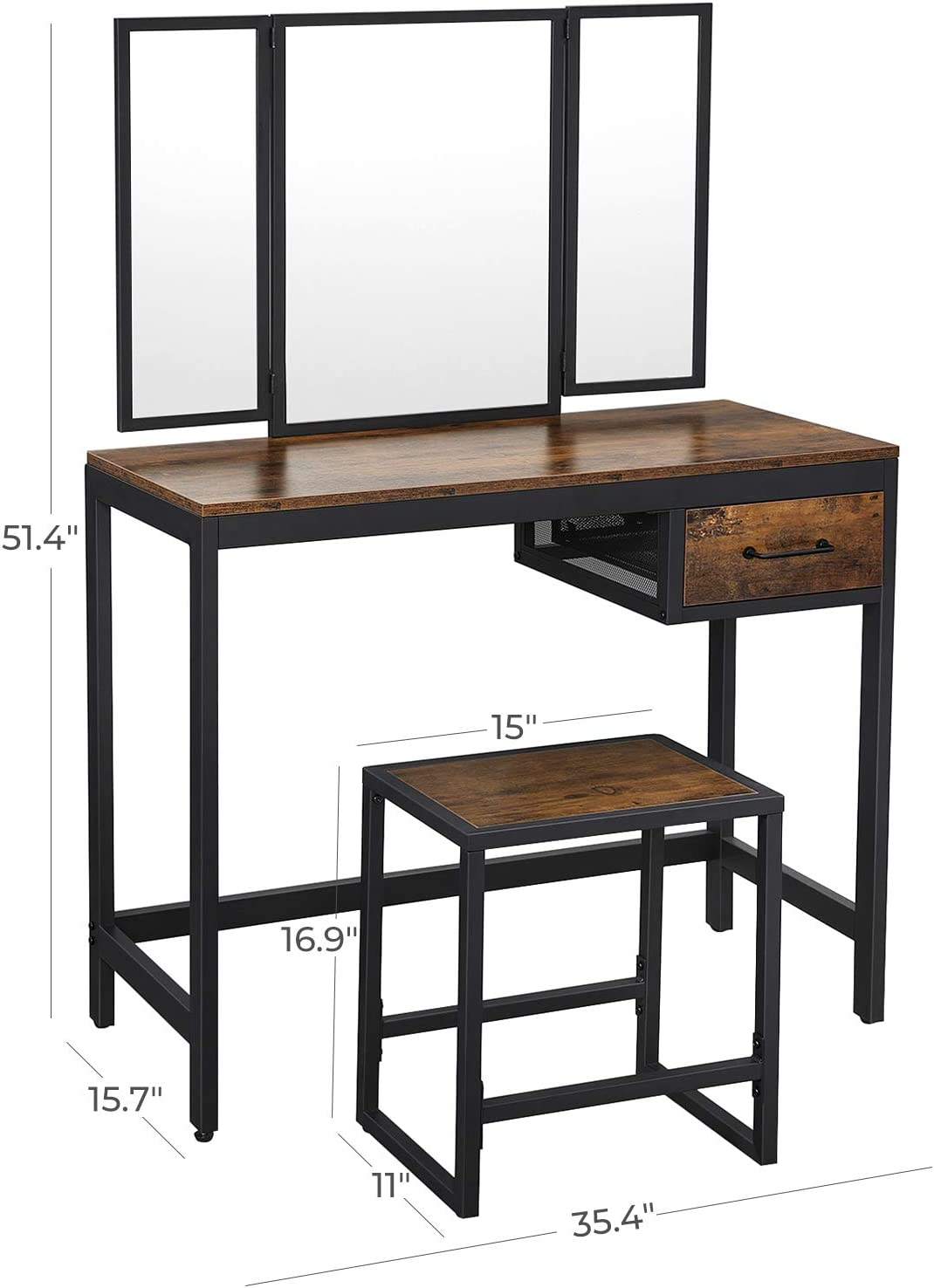 Industrial VASAGLE ALINRU Vanity Table Set Tri-Fold Mirror Rustic Brown and Black URVT01BX Makeup Table with Stool 1 Drawer