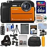 Panasonic Lumix DC-TS7 4K Tough Shock & Waterproof Digital Camera (Orange) 64GB Card + Battery + Case + Video Light + Buoy + Action Mounts Kit