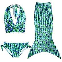 MeQi 3 Pcs Little Mermaid Tail Costume Swimmable Swimwear for Girls Kids
