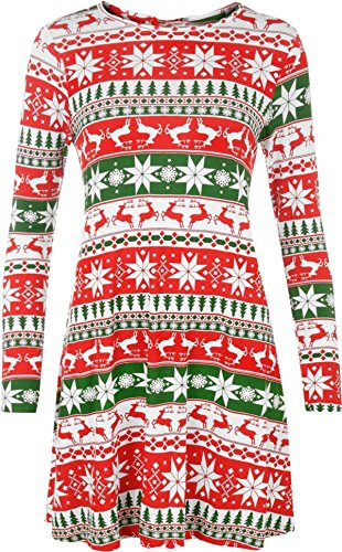 Girls Walk Womens Christmas Dress Ladies Xmas Tree Santa Cap Reindeer Swing Dress