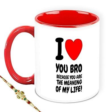 Buy Rakhi Gift For Brother Homesogood I Love You Bro White Ceramic