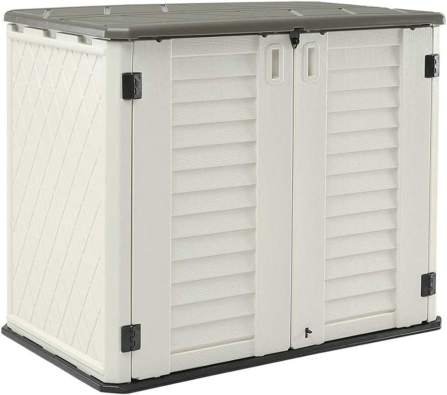 HOMSPARK Horizontal Storage Shed Weather Resistance, Multi-Purpose Outdoor Storage Box for Backyards and Patios, 26 Cubic Feet Capacity for Bike, Lawnmower, Trash Cans, Patio Accessories
