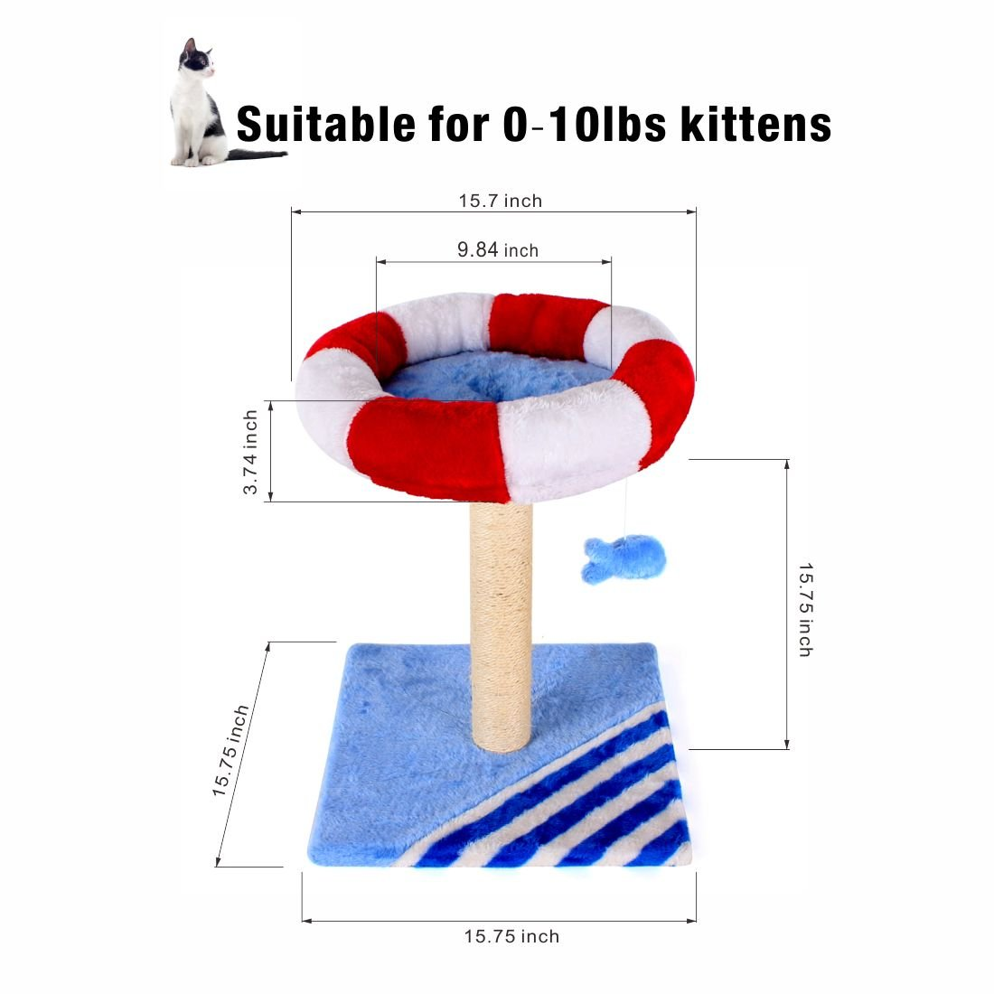 CUPETS Cat Activity Tree House Condo with Scratching Post & Cat Toy Fish - Multiple Colors by CUPETS (Image #5)