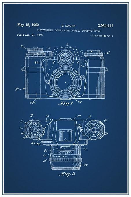 Amazon sauer vintage camera 1962 official patent blueprint sauer vintage camera 1962 official patent blueprint poster 12x18 malvernweather Choice Image