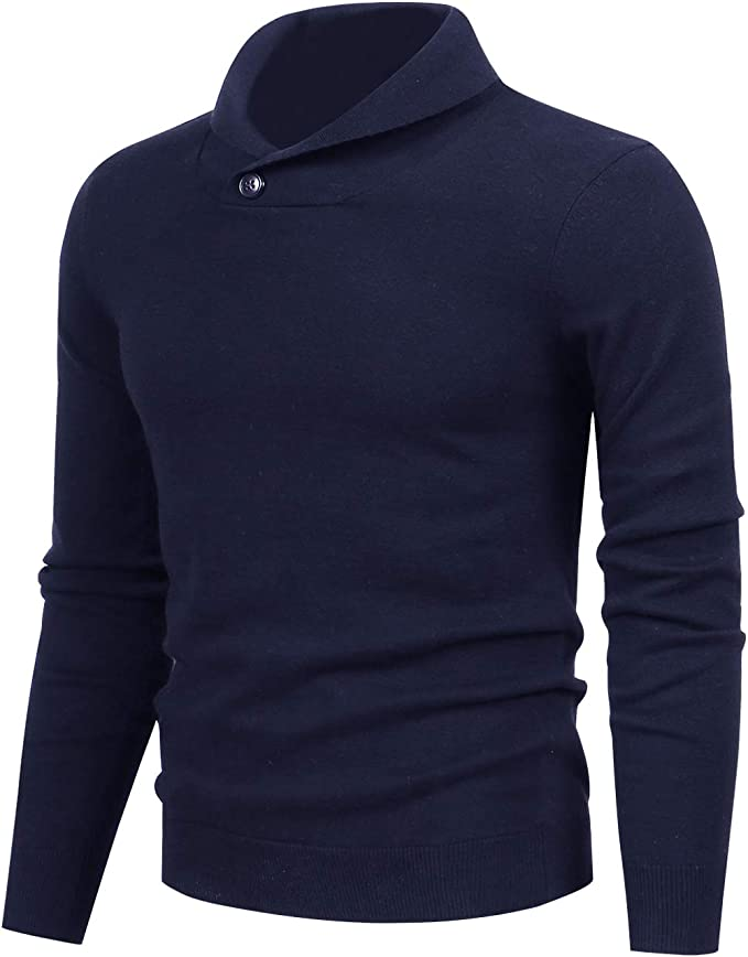 LTIFONE Mens Shawl Sweaters,Casual Slim Fit,Knitted Collar Long Sleeve,Outwear Soft Cotton with One Button