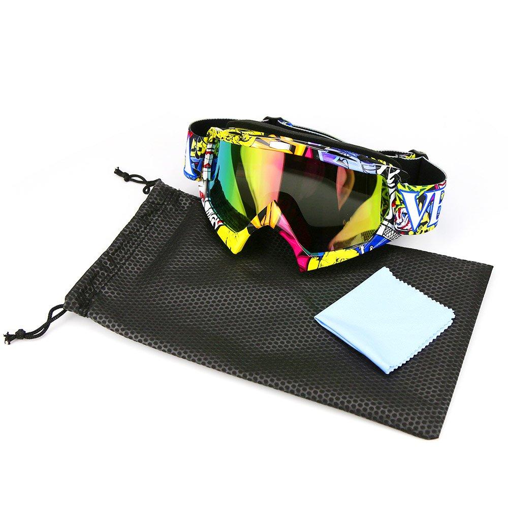 JAMIEWIN Adult Motorcycle Motocross Goggles ATV Racing Goggles Dirt Bike Mx Goggle Glasses and Ski Snowborading 12 Color