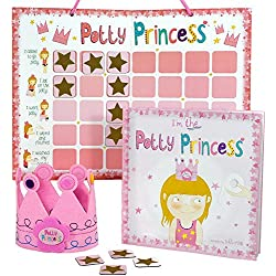 Princess Potty Training Gift Set with Book, Potty Chart, Star Magnets, and Reward Crown for Toddler Girls. Comes in Castle Gift Box.