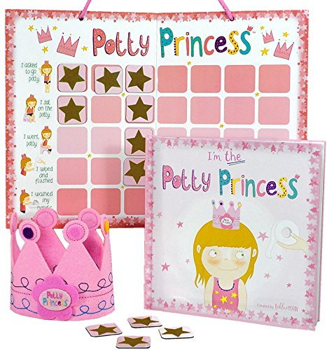 (Princess Potty Training Gift Set with Book, Potty Chart, Star Magnets, and Reward Crown for Toddler Girls. Comes in Castle Gift)