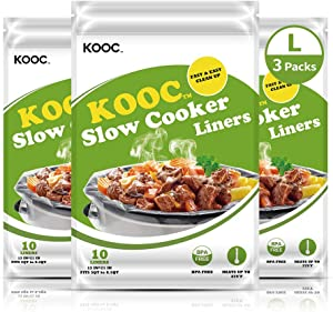 KOOC Premium Slow Cooker Liners and Cooking Bags, Equipped with Fresh Locking Seal Design, Suitable for Oval & Round Pot, BPA Free, Large Size Fits 4QT To 8.5 QT Crock Pot, 13 x 21 Inch, 3 Packs (30 Liners Total)