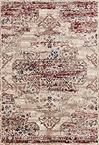8132 Distressed Cream Burgundy 8x10 Area Rug Carpet Large New