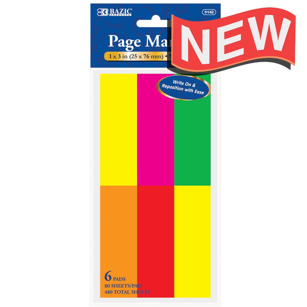 BAZIC 80 Ct. 1'' X 3'' Neon Page Markers (6/Pack)