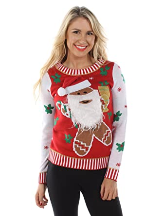 b2e57be9d79c1 Tipsy Elves Women's Gingerbread Man with Beard Tacky Christmas Jumper  XX-Large Red: Amazon.co.uk: Clothing