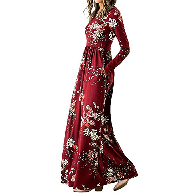 Amazon.com: Womens Maxi Floral One Piece Dress Print Long Sleeve Pockets Empire Waist Pleated Long Dresses ANJUNIE: Clothing