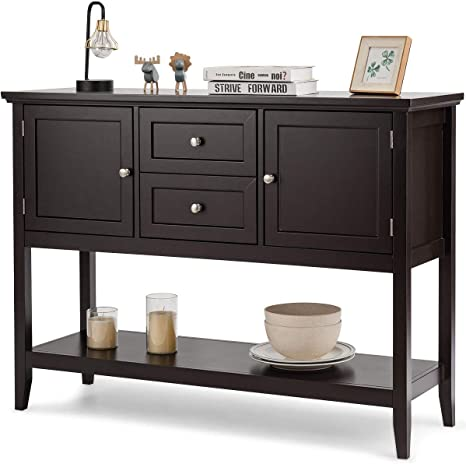 2 Drawers and Cabinets Wood Storage Cabinet Giantex Buffet Sideboard Living Room Kitchen Dining Room Furniture Console Table with Storage Shelf Coffee Brown Wood Buffet Server