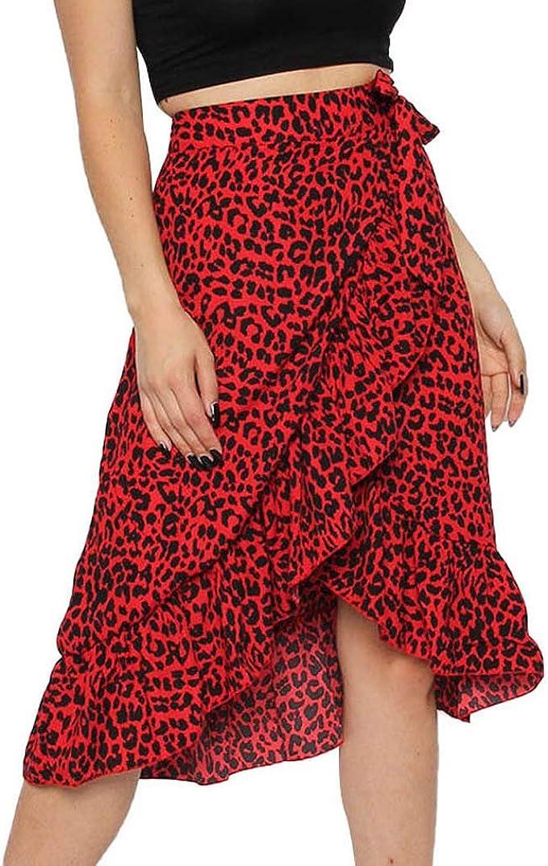 Damen Midi Rock Leopardenmuster Damen Hohe Taille Cocktail Club Kleid Party