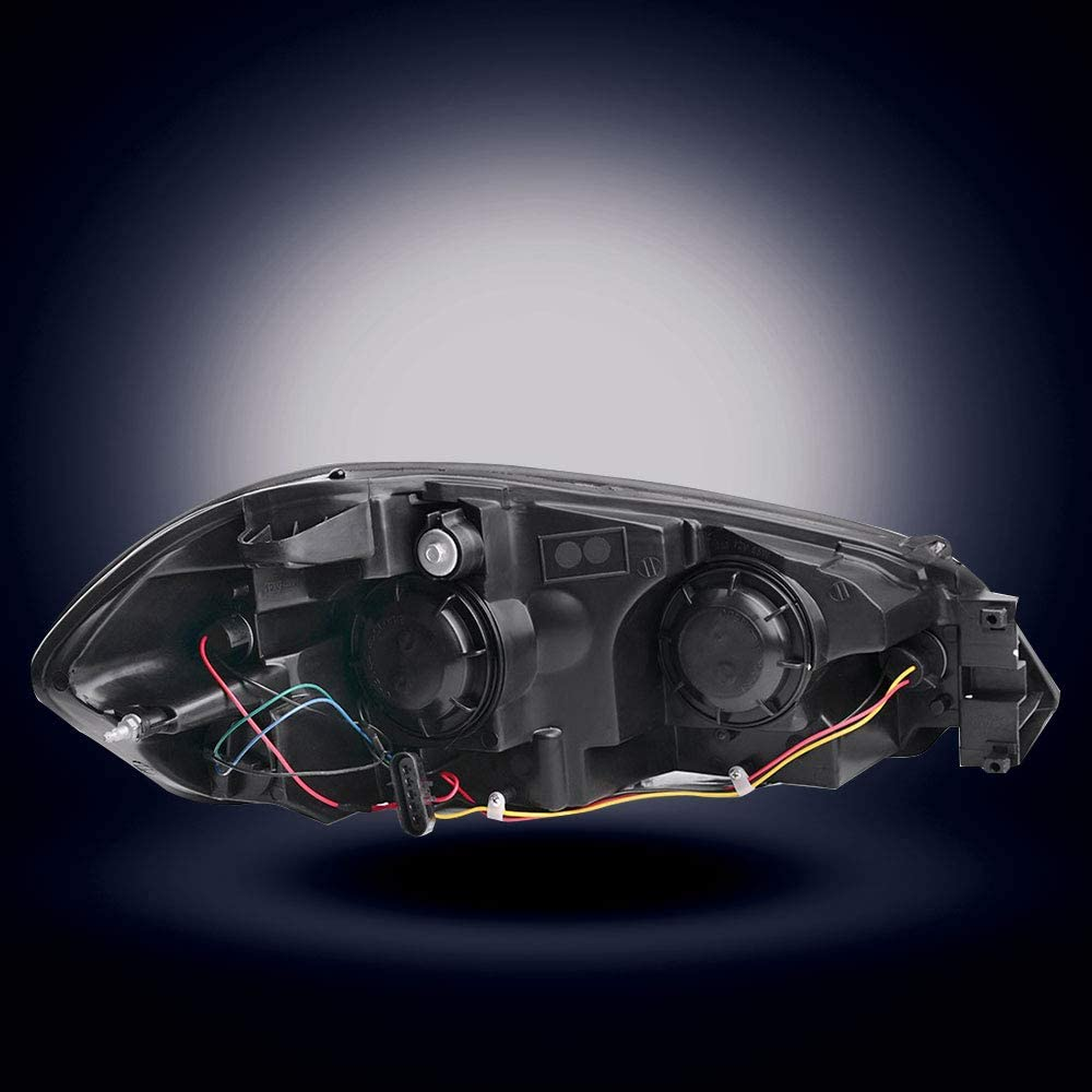 14-16 Chevrolet Impala Limited Black 06 07 Chevy Monte Carlo Black Housing Headlamp Replacement with Amber Reflector Pair BRYGHT Headlight Assembly Compatible with 2006-2013 Chevrolet Impala