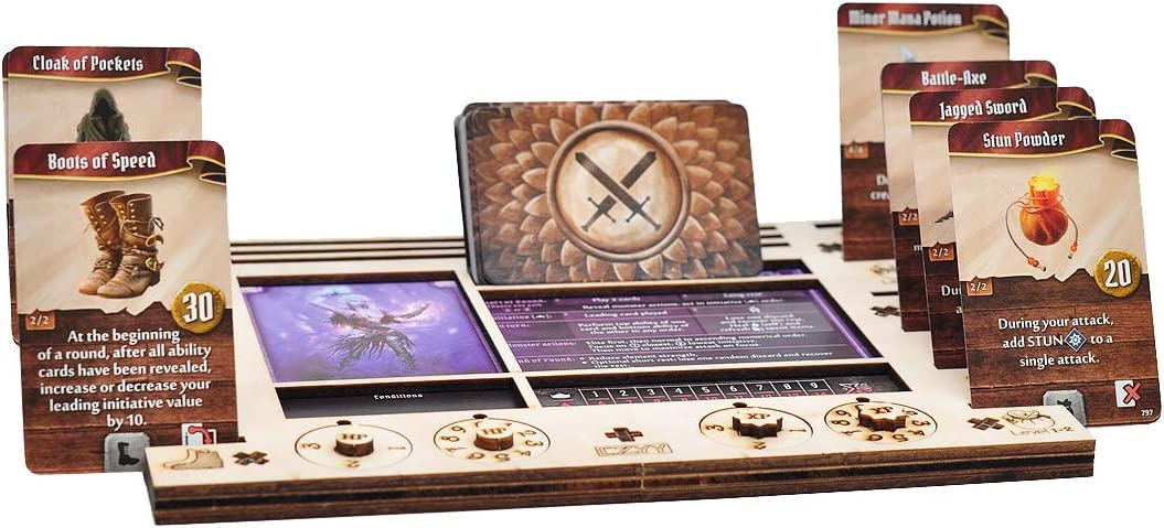 Gloomhaven//Frosthaven Player Character Dashboard with HP /& XP Dial Trackers Set of 2 Birch Plywood Hero Organizer for Saving Your Table Space