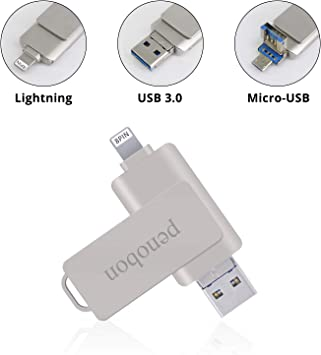 3 in 1 USB Flash Drive Memory Stick External Thumb Storage Drive 32GB for iPhone