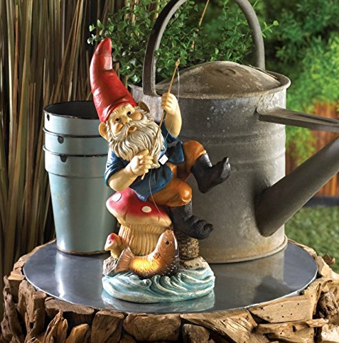 DecorDuke Gnome Fishing Solar Statue Figurine Lamp on a Mushroom Ornament for Lawn Yard Garden Decor, Multicolor Mushroom Accent Lamp