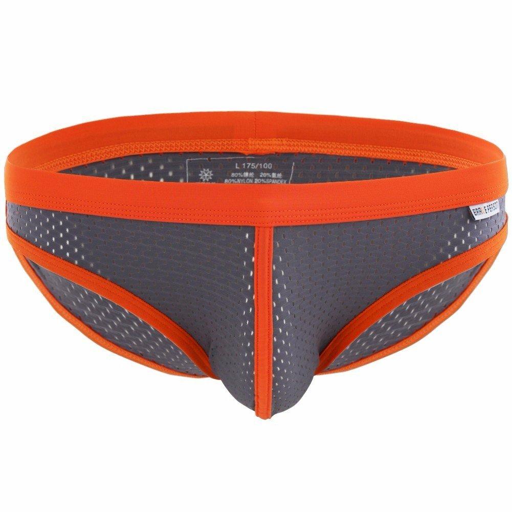 FEESHOW Men's Soft Bikini Briefs Bulge Pouch Underwear Low Rise Swimming Shorts