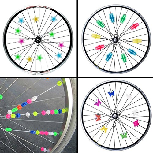 MOMOONNON 170 Counts Colorful Bike Wheel Beads Bicycle Decoration Spoke Beads Biking Accessories for Kids, Various Colors and Patterns by MOMOONNON (Image #1)
