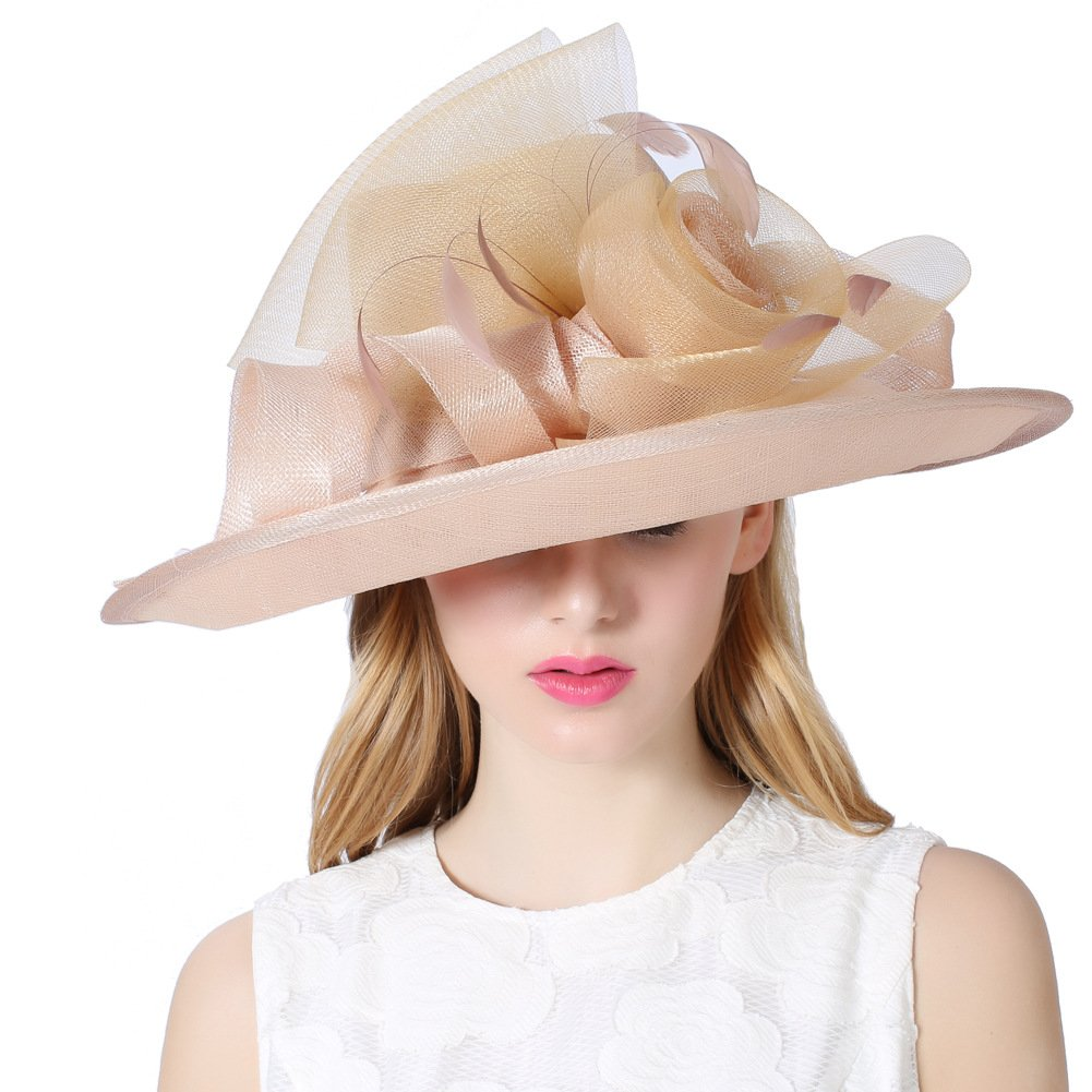Koola's hats Champagne Brown 3 Layers Sinamay Kentucky Derby Hat Sun Hats Church Hats Summer Hats (Champagne)