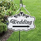 EA-Stone Door Hanging Sign, Creative Wooden Hanging Board Lace Shape Directional Signage Weddings Reception