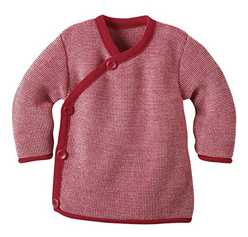 Disana Baby Boys' Melange Jacket, 100% Organic Merino Wool 8-15 Months (Height 28-31) (74/80) Red by Disana