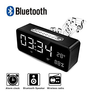 Reloj Despertador Digital Alarma con Altavoz Bluetooth, Despertador Infantil con luz LED Pantalla Extra Grande