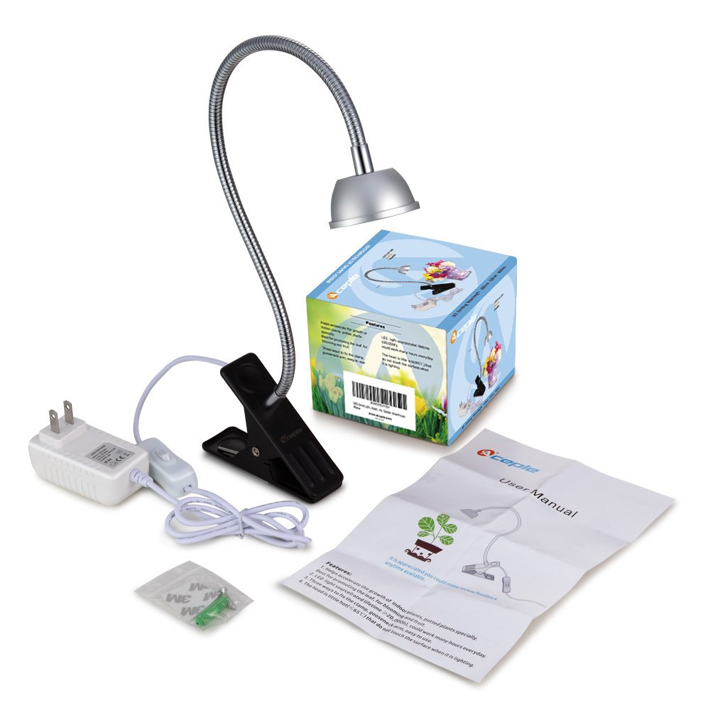 LED Grow Light, Aceple 6W Desk Plant Grow Light with Flexible Gooseneck Arms and Spring Clamp for Hydroponic Indoor Planting, Potted Plants, Garden Greenhouse