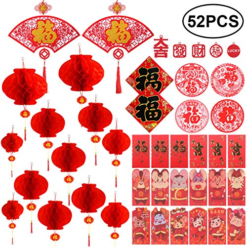 AmazingValueDeal Chinese New Year Decoration - Paper Red Lantern Red Envelopes Hong Bao Red Felt Lucky Character Chinese Fu Character Paper Window - Spring Festival Party Decor [52 pieces]